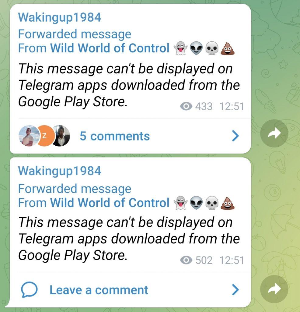 Message de censure vu avec l'app Telegram du Google Play Store